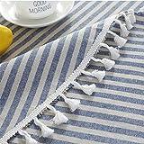 Meiosuns Runde Tischdecke Gestreifte Tischdecken Fringe Tischläufer Einfache und Elegante Heimtextilien für den Innen- und Außenbereich (Durchmesser 150 cm, Blaue/weiße Streifen) - 5