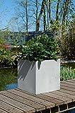 Pflanzkübel Blumenkübel'Block' 50*50 Fiberglas, Beton-Design, Grau