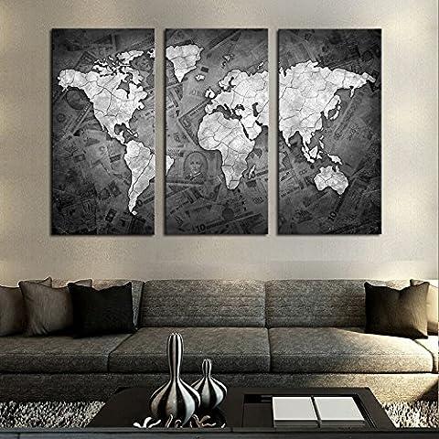 Produits/ 3 pc sans cadre Couleur gris Art mural carte