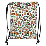 OQUYCZ Drawstring Sack Backpacks Bags,Doodle,Various Home Interior Elements Armchair Table Mirror Design Elements Doodle Style,Multicolor Soft Satin,5 Liter Capacity,Adjustable String Closure,