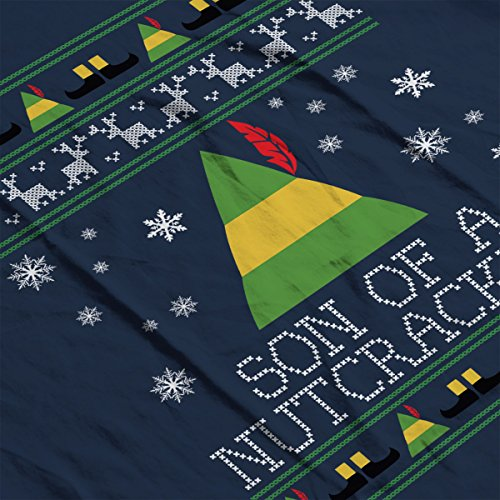 Son Of A Nutcracker Elf Quote Christmas Knit Men's Vest Navy Blue