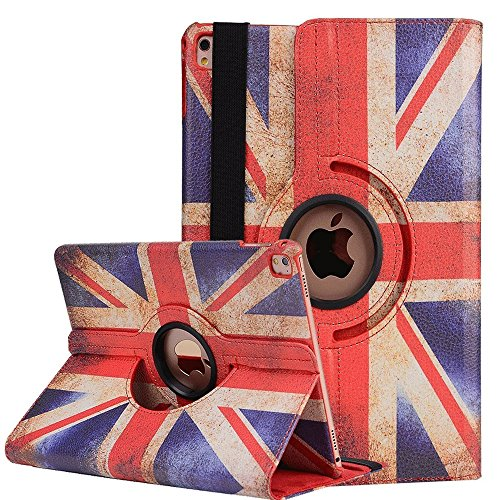 iPad Air 2 Hülle , elecfan ® 360 Grad Drehbaren iPad Air 2 PU Leder Hülle Smart Schutzhülle UK Flag Muster Multi Funktion mit Eingebauter Magnet und Standfunktion(iPad Air 2, Flag-UK) (Air Uk)