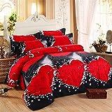 DOTBUY 3D Bettbezug Set, 4 Stück Super Weiche und Angenehme Mikrofaser Einfache Bettwäsche Set Gemütlich Enthalten Bettbezug Bettlaken & Kissenbezug Betten Schlafzimmer (220x240cm, Rot schwarz)