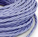 Kabel Elektro Seil geflochtene Stil Vintage Stoff bunt lila Abschnitt 3x 0,75Für Kronleuchter, Lampen, Baldachin, Design. Made in Italy