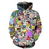 Cowesoo Unisex lustig Harajuku Anime Cute Hoodies 3D-Gedruckten Cartoon Sweatshirt