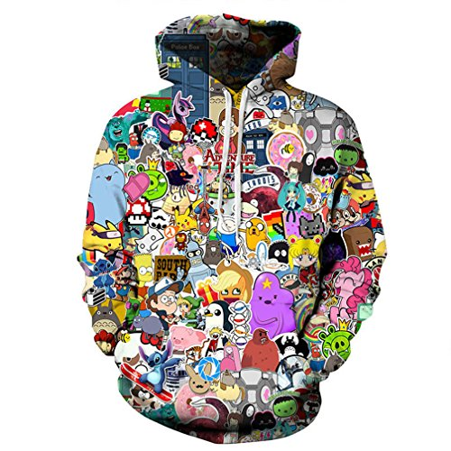 Cowesoo Unisex lustig Harajuku Anime Cute Hoodies 3D-gedruckten Cartoon Sweatshirt