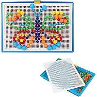 Wefond Creativo Puzzle Pegboard DIY niños Seta de Clavos Compuesto de Imagen Jigsaw Puzzle Juguetes educativos, 6 Colores, 3 tamaños y 296pcs