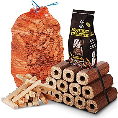 The Chemical Hut® Winter Fire Wood Pack- 12 pack of Eco Wooden Heat Logs + 3kg Kindling + 96 pk of Eco Firelighters - Comes with THE LOG HUT® Woven Sack.