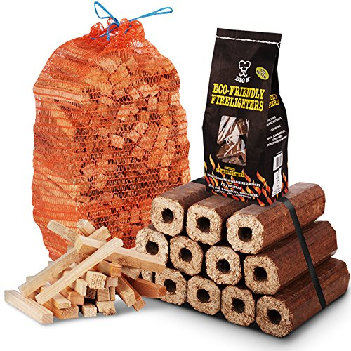 THE CHEMICAL HUT® Fire Wood Pack- 12 pack of Eco Wooden Heat Logs + 3kg Kindling + 96 pk of Eco Firelighters - Comes with THE LOG HUT® Woven Sack.