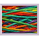 Pitaara Box Multicolored Yarn Canvas Painting White Frame 15 X 12Inch