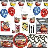 Cars 3 McQueen Partyset 130tlg. für 6 Kinder Teller Becher Servietten Tischdecke Ballons Einladung Wimpel Tüten Muffin Besteck