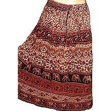 1–7Patio Tribal Gitano Maxi niveles falda danza del vientre faldas seda mezcla Banjara para S, M, L, XL, talla 34–46, 36