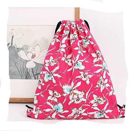 Preisvergleich Produktbild Beutel Turnbeutel Tasche Tüte Rucksack Hipster Jutebeutel Strandtasche Reisen Wandern Floral Blumen (Rot)