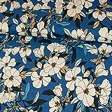 Viskosejersey Magnolien Blumen royalblau Modestoffe