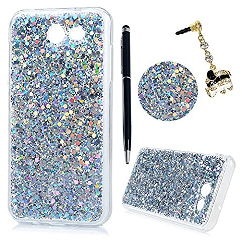 J3 (2017) TPU Case [Metal-Pieces Alike], Lanveni Scratch Resistant Anti Slip Clear Silicon Case For Samsung Galaxy J3 (2017) Bodyguard King Silver + 1 Dual-Use Stylus Pen + 1 Elephant Dust Plug