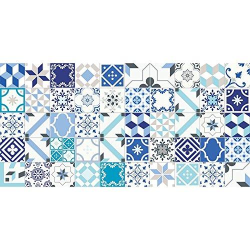 Flooralia - Alfombra Vinilica Extra Grande Patchwork- 295X195cm- Azul