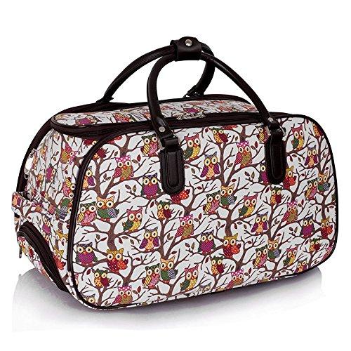 LeahWard® Damen Eule / Schmetterling Drucken Reisetasche Reisetasche Handgepäck Damen Wochenende Handtasche Auf Rädern Wagen CWS00308 CWS00308C Weiß