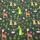 Stoff Meterware Baumwolle grün Tiger Giraffe Krokodil