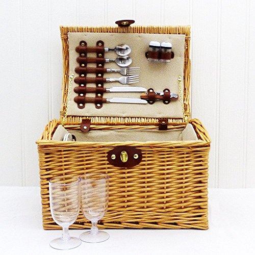 """2 Person Wicker Picnic Basket """"Hampton"""" - Ideas para regalos de cumpleaños, aniversario y felicitaciones Regalo perfecto para el Día de la Madre"""