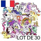 SparkTime - Autocollants Licorne [Lot x30] Stickers Licorne pour Loisirs Créatifs
