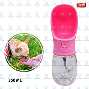 The DDS Store Dog Water Bottle for Walking or Outdoor Travel with Bowl Dispenser, Antibacterial Portable Leak Proof Pet Travel Water Drink Cup, Water Drinking Bottle 350ml -Color May Vary
