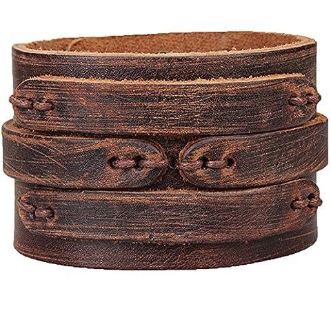 Manchette en cuir Marron Large bracelet pour homme fabriqué à la main Bracelet Permettent Rivet Button 7~ 22,9cm