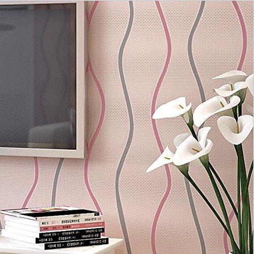 Lzhenjiang Wandbilder Nicht Selbstklebende Wohnzimmer Wand Papier Vertikale Streifen Wellen Vliestuch Schwarze Und Weiße Wände Zum Gang Linien, Hell Rosa,