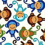 Tela blanco roto con monos de colores de Robert Kaufman