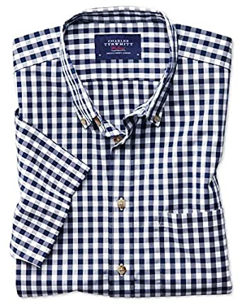 Classic fit button down non iron poplin short sleeve navy for Charles tyrwhitt shirts review