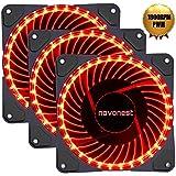 novonest 120mm ventilador solar eclipse hidráulico rodamiento silencioso ventilador de refrigeración para ordenador 32LEDs Mirage color LED ventilador DC 12V 1800RPM Conectores 4Pines con anti vibración de goma almohadillas (rojo)
