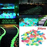 200pcs Mixed Colors Glow in the Dark Pebbles Stone Man-made Luminous Cobblestone for Garden Walkway Outdoor Fish Tank