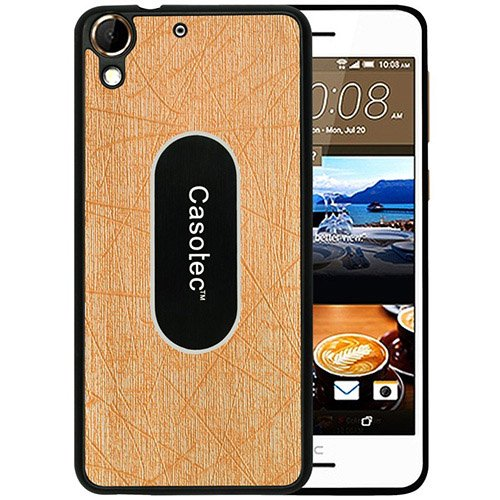 Casotec Metal Back TPU Back Case Cover for HTC Desire 728G - Gold