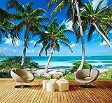 Fototapete Palmen an einem tropischen Strand Vliestapete Wandtapete - Tapete - Moderne Wanddeko - Wandbilder - Fotogeschenke - Wand Dekoration, wandmotiv24, Größe: S 200 x 140cm - 4 Teile - Vlies
