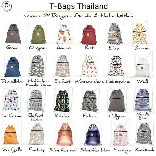 Original ♡ T-BAGS Thailand Turnbeutel Hipster | 18 coole Designs | mit Reißverschluss | Baumwoll Beutel mit hohem Tragekomfort (Grau) - 6