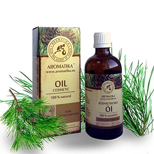 Haaröl rein natürlich, Haare Öl mit naturreinem 100 % Jojobaöl, Traubenkernöl, Zedernholzöl, Eukalyptusöl und Orangenöl für intensive Haarpflege, Haarpflegeöl für trockene und brüchige Haare, Haarwachstum, Haarstärkung, verleiht Glanz und Geschmeidigkeit, toller Duft, Glas-Flasche, 100 ml, 1er Pack (1 x 100 ml) Naturkosmetik von AROMATIKA Trocken-öl Für Die Haare