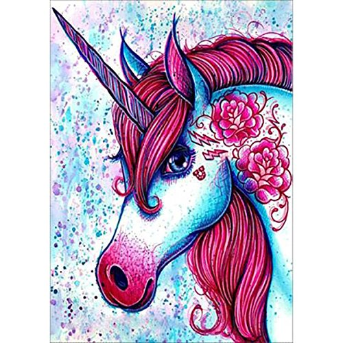 Gemini_mall® 5D Diamond Painting Cross Stitch Kits DIY Handmade Flamingo Rhinestone Painting Embroidery Cross-Stitching Set Mosaic Canvas Art Home Wall Decor (Red Unicorn)