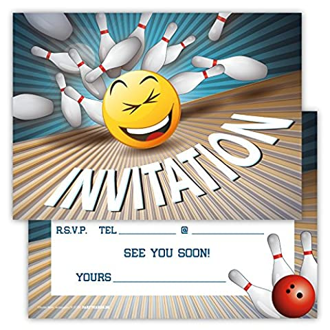Funny Birthday Invitations Pack of 12 for Boys Girls Kids Cards Bowling Party with Smiley Emoji Postcard Greetings Set