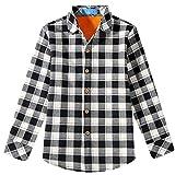 SSLR Jungen Hemd Kariert Flanellhemd Kinderhemd Langarm Baumwolle Checked Shirt Bügelleicht Hemden für Party Freizeit Schule (Medium (10-12Jahren), Schwarz-Weiss)