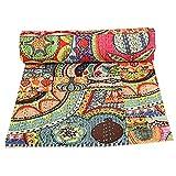 Colcha de algodón Kantha de parche indio, manta para cama de matrimonio (multifloral), colcha bohemia, colcha bohemia, colcha kantha hecha a mano, edredón kantha