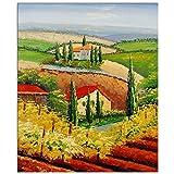 Paisaje de la Toscana Cuadro pintura al oleo realizada a mano sobre lienzo montada sobre bastidor estetico