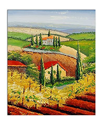 Arte dal Mondo Tuscan Landscape Hand Made Oil Painting Reproduction Mounted On an aesthetic Stretching Frame, multicolour