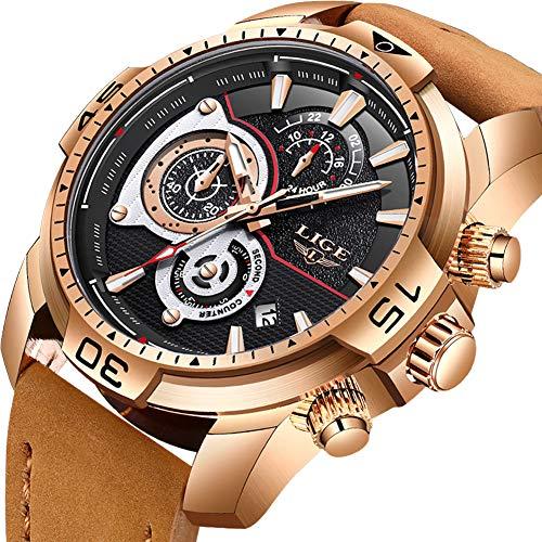 LIGE Herren Chronograph Wasserdicht Militär Sport Analog Quarz Uhr Großes Gesicht Datum Mode Casual Luxus mit Braun Leder Armband LG9892B Roségold Schwarz