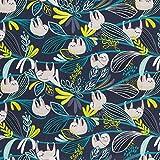 MIRABLAU DESIGN Stoffverkauf Baumwolle Popeline Faultiere grau auf dunkelblau (4-269M), 0,5m Vergleich