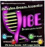 Ensemble de Cordes de Guitare Acoustique Vibe, Phosphore Bronzé, Scellées Sous Vide pour la Fraicheur la Longévité, Facile à Remplacer, 6 Pack avec 3 Plectre  - Calibre Light .011 - .050