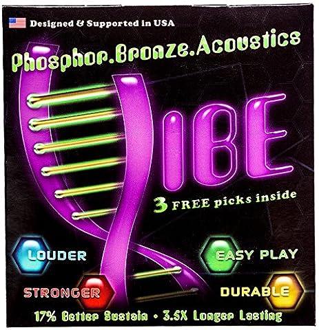 Vibe Acoustic Guitar String Set, Phosphor Bronze, Vacuum Packed – Warm Bright, Clear Tone, Lasting Sustain, 6 Pack With 3 Picks, Medium gauge 12-52