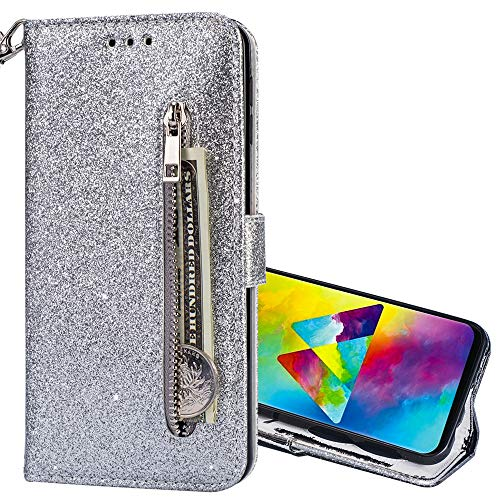 Nadoli Glitzer Handyhülle für Galaxy A6 Plus 2018,Reißverschluss Kartentaschen Entwurf Hell Glänzen Magnetverschluss Flip Bling Schutzhülle Etui im Brieftasche-Stil für Samsung Galaxy A6 Plus 2018