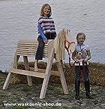 Holzpferd Voltigierpferd Holzpony Gr. L, Weiß lasiert