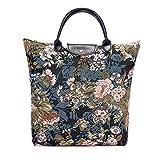 Tapisserie der Frauen wiederverwendbare faltbare Einkaufstasche durch Signare mit Pfingstrosen-Blume