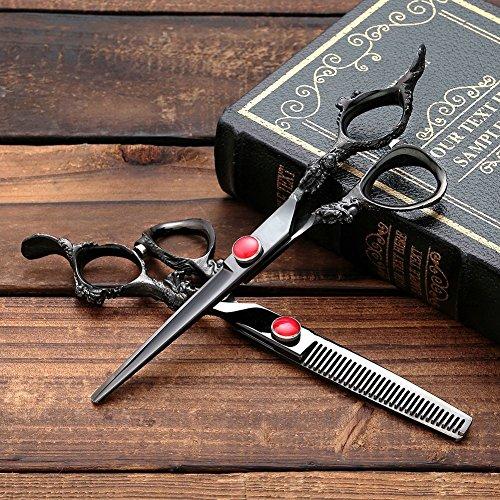 Professionell Friseurschere UWILD® Friseurschere Set Professionell Haarscheren Set Friseur Scheren Set 6 Zoll 17,5 cm mit (2-er Set) Umfassen Taschen und Kamm (Dragon Black)