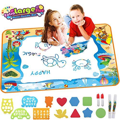 Eyscoco Aqua Doodle Matte,100*70cm Wasser Aqua Doodle Malmatte mit 4 Magic Stifte und 12 Zeichnungsvorlagen Geschenk Spielzeug für Kinder Baby Mädchen Jungen (100*70)